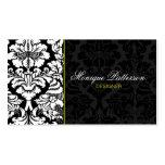 Swanky Sage #2 Black Damask Chic Business Card