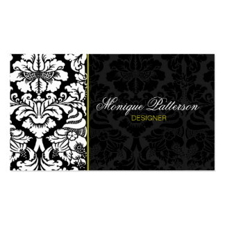 Swanky Sage #2 Black Damask Chic Business Card