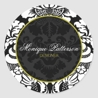 Swanky Sage Black Damask Chic Round Sticker