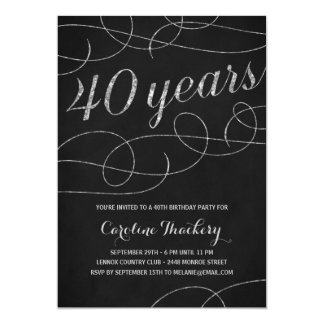 Swanky Silver 40th Birthday Party Card