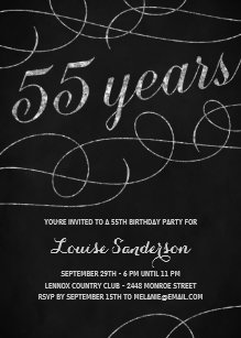 Swanky Silver 55th Birthday Party Invitation