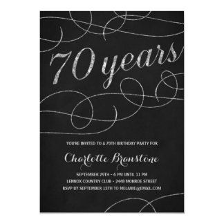 Swanky Silver 70th Birthday Party 5x7 Paper Invitation Card