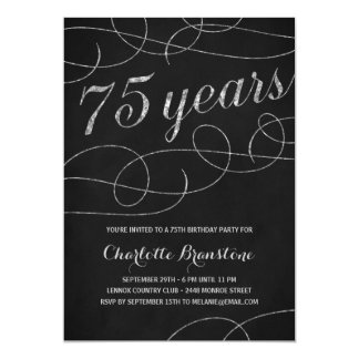 Swanky Silver 75th Birthday Party Card