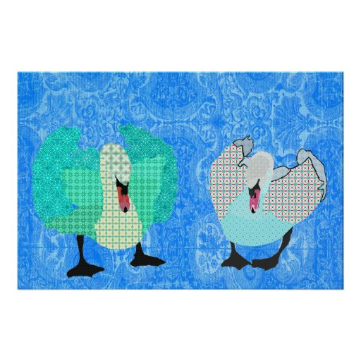 Swanky Swans Blue Ornate Poster