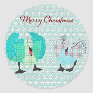 Swanky Swans Blue Snowflake  Christmas Sticker