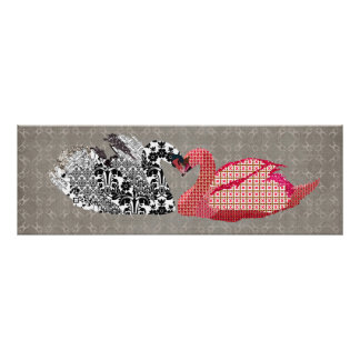 Swanky Swans Love Grey Art Poster
