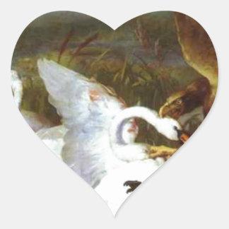 Swannery Invaded by Eagles by Edwin Henry Landseer Heart Sticker