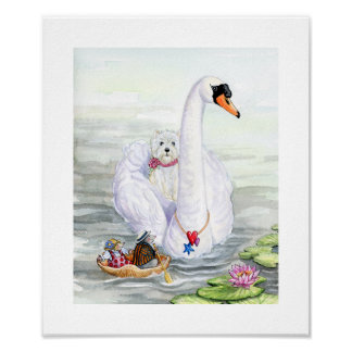 Swanning About On The River Westie Poster
