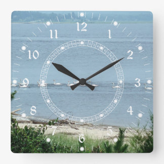 Swans Along the Shore Square Wall Clock