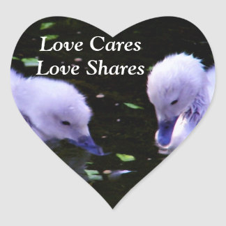Swans,Baby swans_ Heart Sticker