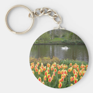 Swans by a lake with tulips, Keukenhof Basic Round Button Keychain