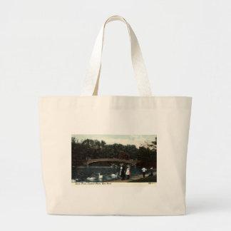 Swans Central Park New York Repro Vintage 1908 Large Tote Bag