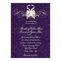 Swans Damask Wedding Invitation