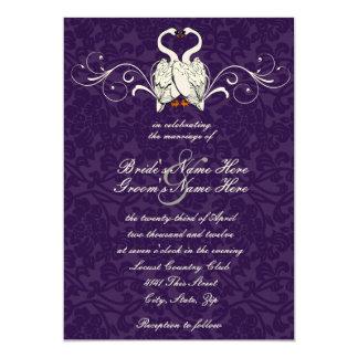 Swans Damask Wedding Invitation