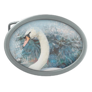 Swans floral swirls | PERSONALIZE Belt Buckle