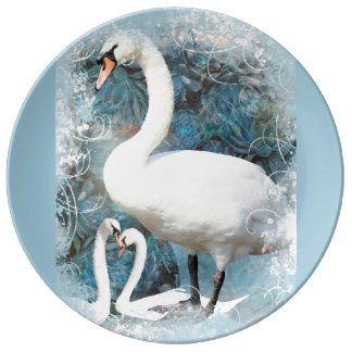 Swans floral swirls | PERSONALIZE Plate