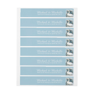 Swans floral swirls | PERSONALIZE Wrap Around Address Label
