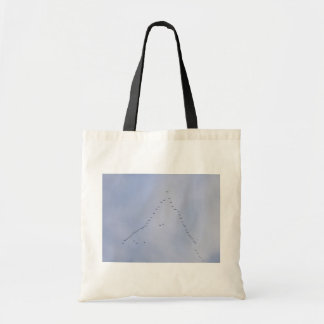 Swans Flying High In V Pattern Tote Bags