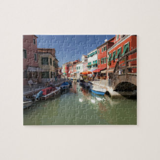 Swans in canal, Burano Island, Venice, Italy 2 Jigsaw Puzzle