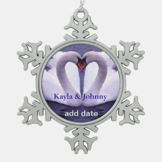 Swans In Love Pewter Snowflake Ornament at Zazzle