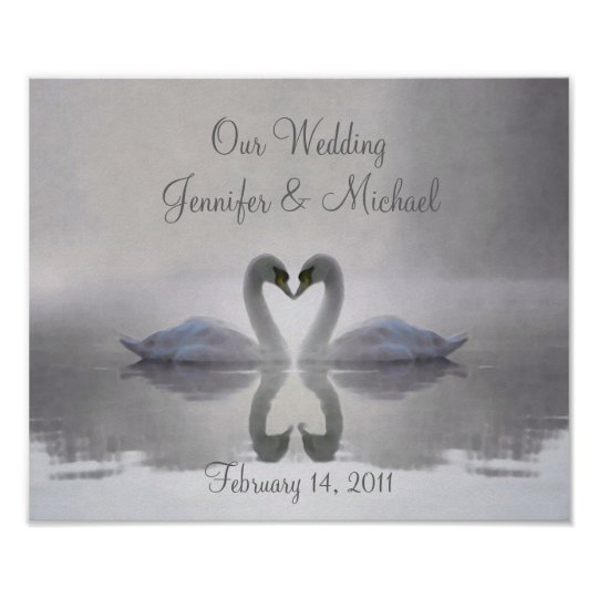 Swans in Love ~ Poster / Personalized Wedding