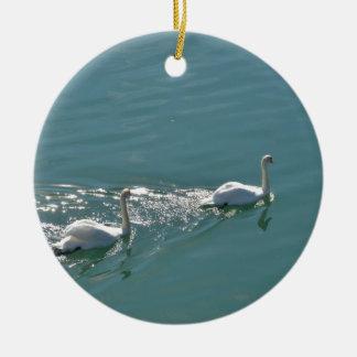 Swans In Sunlight Ceramic Ornament