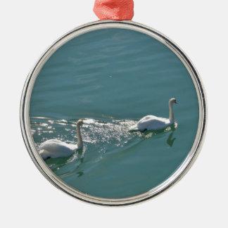 Swans In Sunlight Metal Ornament