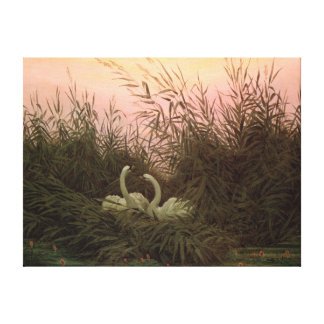 Swans in the Reeds, c.1820 Canvas Print