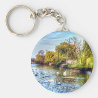 Swans on the River Nene HDR Keychain