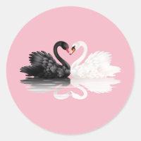 Swans Pink Round Stickers