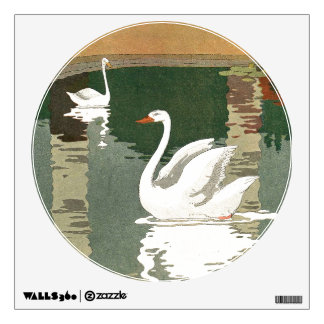 Swans Reflected in the Water Wall Decal