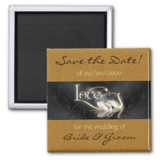 Swans Save the Date Magnet