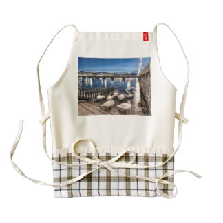 Swans shadows at Geneva lake, Switzerland Zazzle HEART Apron