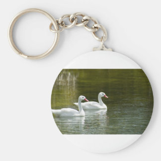 Swans Swimming Keychain