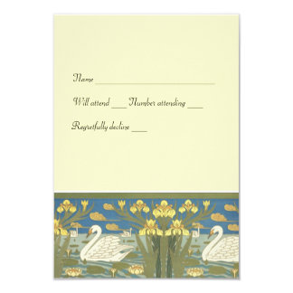 Swans Swimming rsvp with envelopes Card