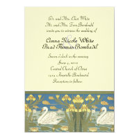 Swans Swimming Wedding Invitation
