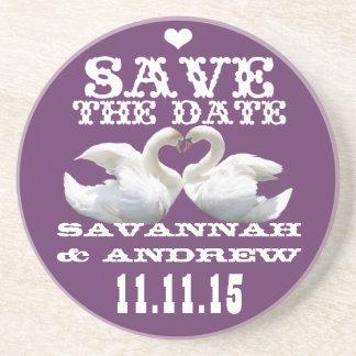 Swans Vintage Western Font Save the Date Gifts Sandstone Coaster