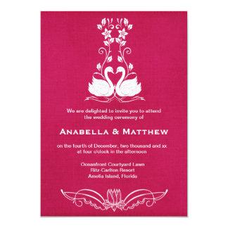 Swans wedding 5x7 paper invitation card