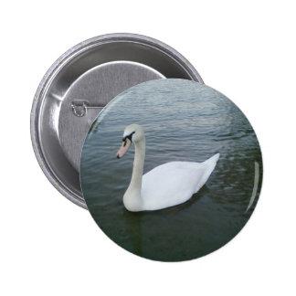 Swans White 2 Inch Round Button
