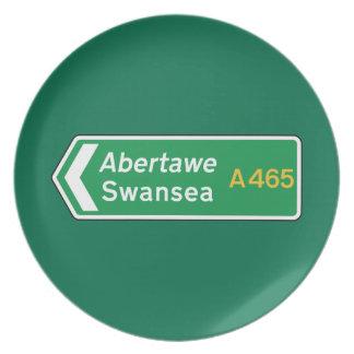Swansea señal de tráfico BRITÁNICA Platos Para Fiestas