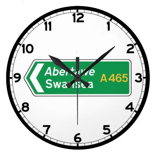 Swansea, UK Road Sign Wall Clock