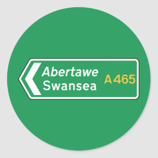 Swansea UK Road Sign Round Stickers