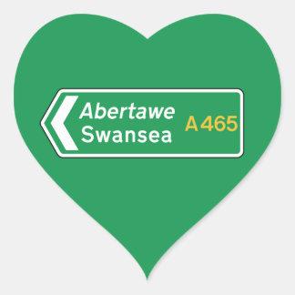 Swansea UK Road Sign Heart Sticker
