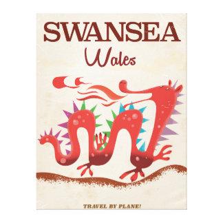 Swansea Wales Dragon poster Canvas Print