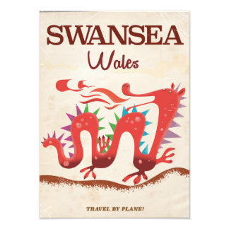 Swansea Wales Dragon poster Photo Print