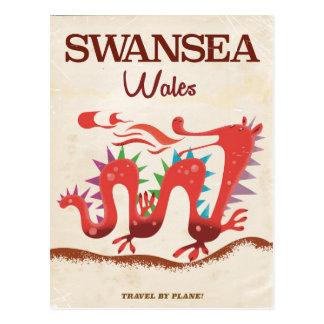 Swansea Wales Dragon poster Postcard