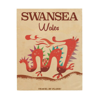 Swansea Wales Dragon poster Wood Print