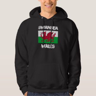 Swansea, Wales with Welsh flag Hooded Pullover