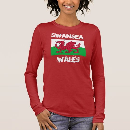 Swansea, Wales with Welsh flag Long Sleeve T-Shirt