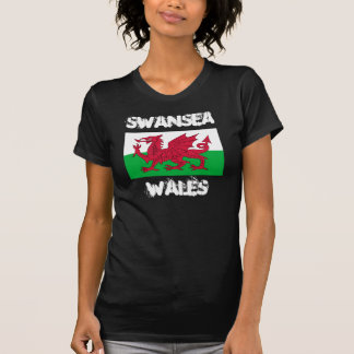 Swansea, Wales with Welsh flag Tee Shirt